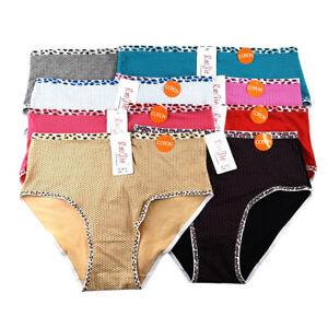 Womens-Plus-Size-High-Waist-PantiesCotton-Underwear-Leopard-Wave-Point-Briefs