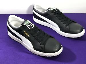 b9c6dc4b6cd3d8 Image is loading Puma-Clyde-Leather-FS-Classic-Black-White-Sneaker-