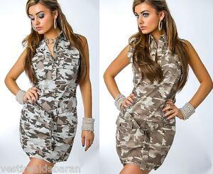 Miniabito Vestitino Donna Abito Vestito Camouflage MISSY C027 Tg 42