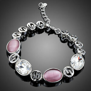 Platinum-Plated-Pink-amp-Clear-Paved-Bracelet-Made-With-Swarovski-Crystals-B680