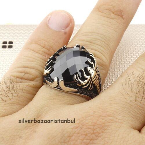 UU. Scorpion popular Verde Esmeralda Piedra 925 Sterling Silver Anillo de hombre turco EE