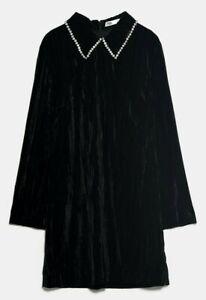 ZARA-WOMAN-NWT-SALE-VELVET-MINI-DRESS-BLACK-SIZE-S-REF-2731-257