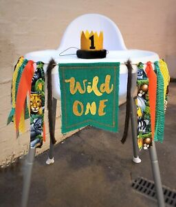 Image Is Loading Jungle Safari High Chair Banner First Birthday Decor