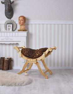 Realistisch Sitzgondel Antik Sitzbank Polsterhocker Barock Hocker Leopard Holzhocker Schemel