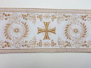 Orphrey-Vintage-Religioso-Cruz-Diseno-Cojos-Oro-en-Blanco-Banda-11-4cm-C103