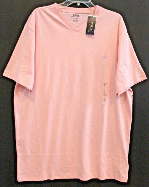 Polo Ralph Lauren Big and Tall Mens 2XLT Pink Cotton V-Neck T-Shirt NWT 2XLT