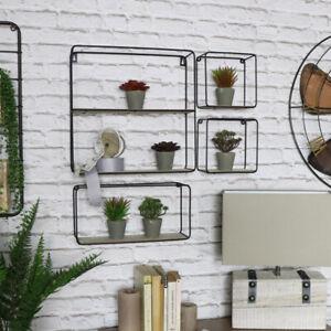 Set-4-Retro-Metall-Draht-Holz-Regal-Geraete-Modern-Wohnzimmer-Flur-Regale