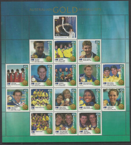 AUSTRALIA 2000 SYDNEY OLYMPIC GOLD MEDAL SHEET of 17 MEDALLISTS MNH