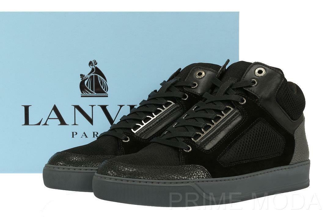 NEW LANVIN CURRENT MEN'S BLACK HIGH-TOP SNEAKERS LACE-UP BOOTS SHOES 7