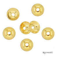 10x 22kt Gold Plated Sterling Silver Simplicity Bead Cap 6mm 99207