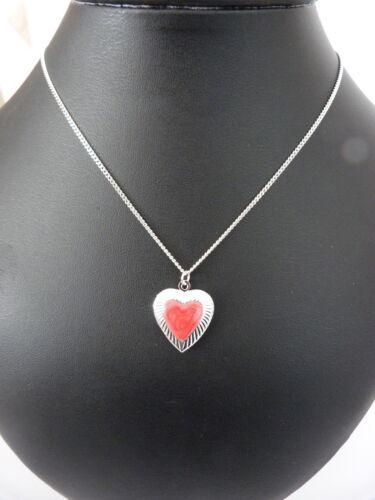 """Corazón de plata plateado medallón con centro de color en el 16/"""" 18/"""" 20/"""" Cadena de Plata Plateado"""
