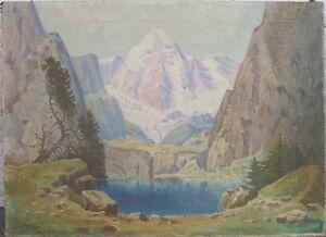 J-GREWE-OLGEMALDE-UM-1930-LANDSCHAFT-BERGE-ALPEN-ANTIK-SIGNIERT-KUNSTWERK