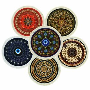 Mouse-Pad-Mat-Rug-Gaming-Mice-Laptop-PC-Non-Slip-Round-Shape-Vintage-Retro-Style