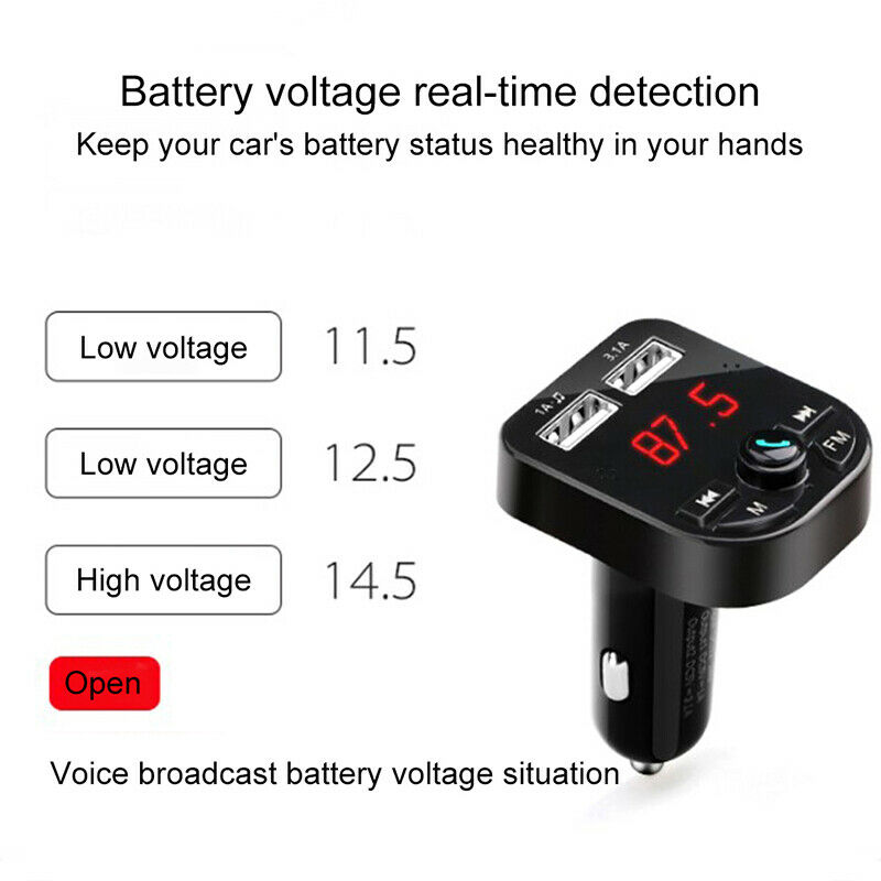 Bluetooth 5.0 Wireless FM Transmitter Car Audio MP3 Player Dual USB Charger Kit 4