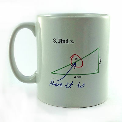 FIND X MATHS PROBLEM EQUATION QUESTION MUG CUP PRESENT STUDENT TEACHER ALGEBRA