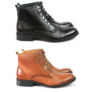New Men's Black / Brown Ferro Aldo Dress High Top Boots Cap ...