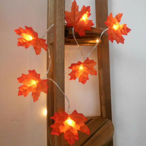 Fall Maple Leaves Fairy String Light 10//20//30 LED Autumn Home Lamp Garland Decor