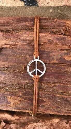 PEACE BRACELET PEACE SIGN CORD BRACELET HIPPY BOHO FESTIVAL ADJUSTABLE UK