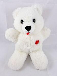 "Dakin White Bear Plush w/ Red Heart 1984 9"""