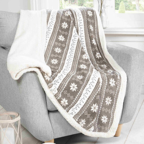 Snowflakes Nordic Sherpa Fleece Blanket Bedding Heaven Super Soft ALPINE Throws