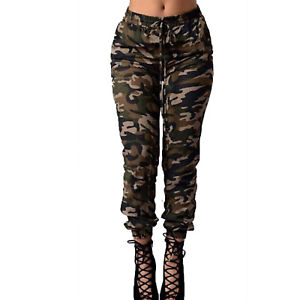 Camouflage Women Drawstring Pants Skinny High Waisted Pocket Camo Cargo Trousers