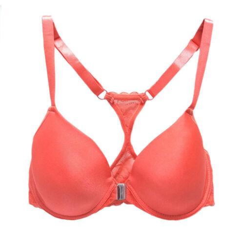 Womens Bra Front Closure Lace Plunge Brassiere Racer Back Underwired Underwear