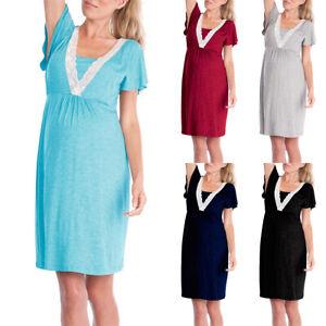Women-Short-Sleeve-Lace-Maternity-Pregnancy-Lady-Nightgown-Summer-Pajamas-Dress