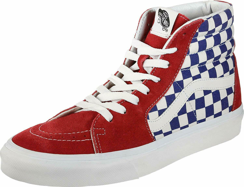 Vans Mens US SK8 HI BMX Checkerboard True bluee RED Size 9.5 12