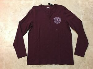 New-Express-Men-039-s-Chain-Circle-Henley-Burgundy-Shirt-Size-L-LARGE