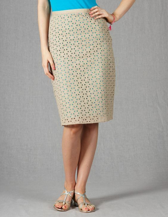 BODEN 100% COTTON LINED SAND PINK EYELET BRODERIE SKIRT WG489 SIZE US 12