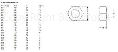316 M5 Acier Inoxydable A4 Marine Grade Complet Écrous pour Vis Boulons A4 DIN 934
