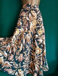New-H-amp-M-UK-16-Bottle-Green-Mustard-Floral-Leaves-Floaty-A-Line-Midi-Flared-Skirt