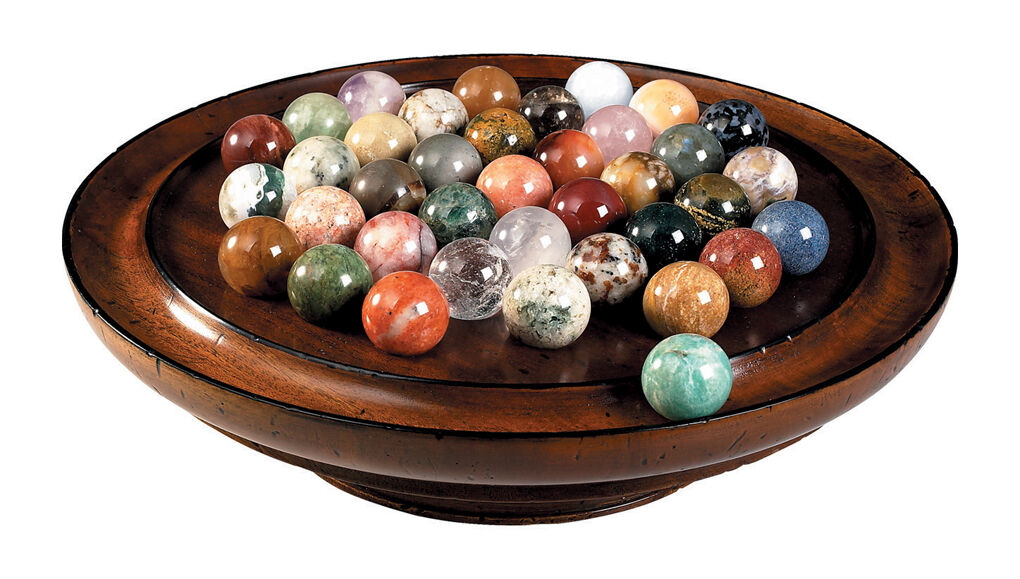 Solitaire Wooden Game Solid Semi-Precious Gemstone 30mm (1.18