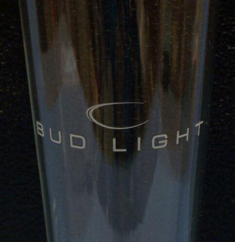 Pair 2 Bud Light Glass Pilsner Beer Glasses Tall Silver Rim w// White Design