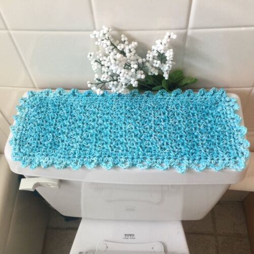 Caribbean Blue /& White Handmade Cotton Toilet Tank Topper or Commode Runner