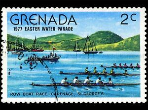 GRENADA-VINTAGE-POSTAGE-STAMP-ROWING-PHOTO-ART-PRINT-POSTER-PICTURE-BMP1690A
