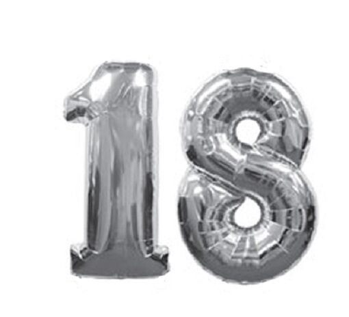 Number 18 Silver Balloons 18th Birthday Party Anniversary Foil Decoration Gift For Sale Online