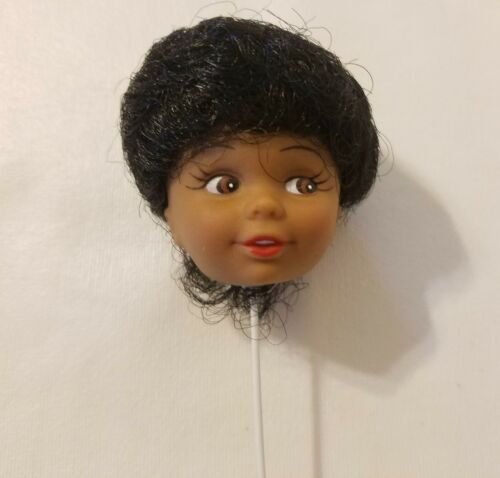 3 Vtg Craft Vinyl Black African American Girl Doll Head Wire Stick Flower Pick