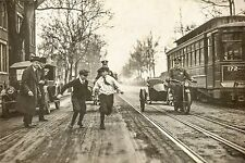 1922 Vintage antique PHOTO 20x14, Children Play, Motorcycle Police, Washington