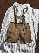 Vtg German Lederhosen Leather Suede Shorts W Suspenders Echt Leder 116 Tan