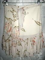 Paul & Joe Ivory & Peach Floral Jersey Skirt 38 4 $306 Tie Belt
