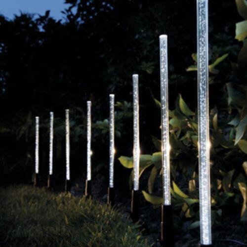 8pcs Solar Power Acrylic Bubble White LED Light Garden Lawn Landscape Lamp Decor