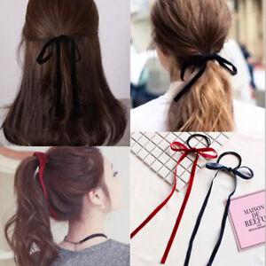 Women-Girls-Simple-Velvet-Ribbon-Bow-Elastic-Hairband-Tassel-Hair-Tie-Hair-Ropes