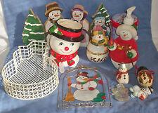 Vtg Lot of Christmas Snowmen Snowman Figurine Decor Ceramic Wood Inarco Dish