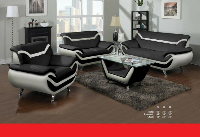 Amazing Beautiful Living Room 2Pc Sofa And Loveseat Black Bonded Leather Plush Couch Pabps2019 Chair Design Images Pabps2019Com