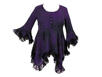 Dark Star Plus Size Purple Black Gothic Georgette Renaissance Bell Sleeve Top