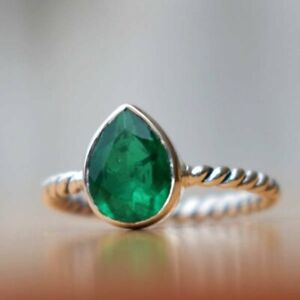 925-Sterling-Silver-Natural-Colombian-Emerald-Pear-Vintage-Birthstone-Ring-Gift