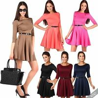 Womens Belted 3/4 Sleeve Top Pleated Tailored Swing Skater Mini Dress Party 8-14