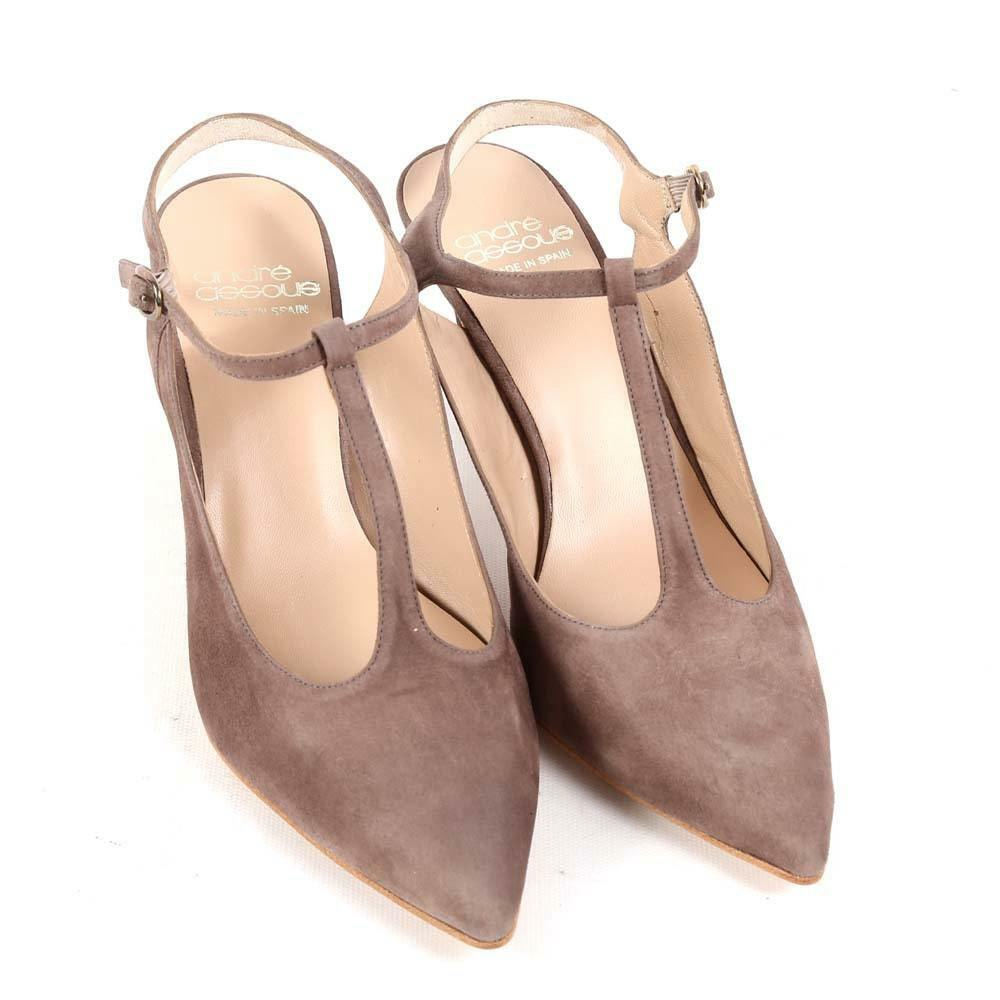 Andre Assous Olenna Taupe Suede T-Strap Slingback Pumps 3.5