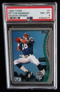 1998 Topps Season Opener Peyton Manning PSA 8 NM-MT #1 RC Rookie Colts